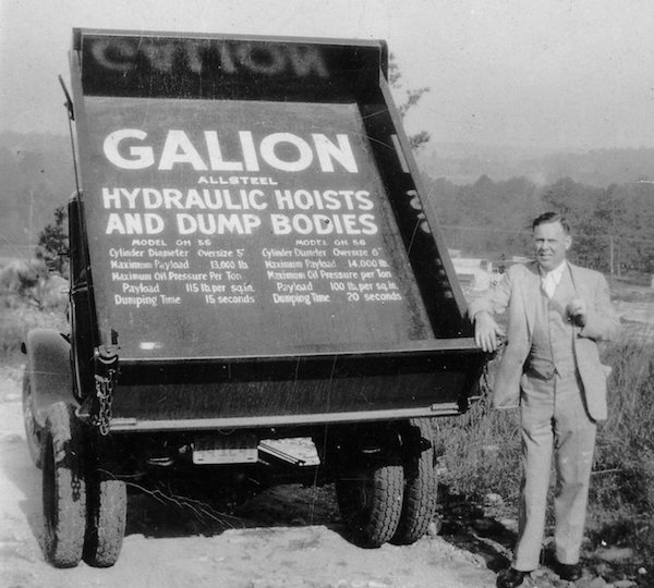 James Brannan Sr with the Galion Ford Dump Truck He Drove to the Top of Stone Mountain